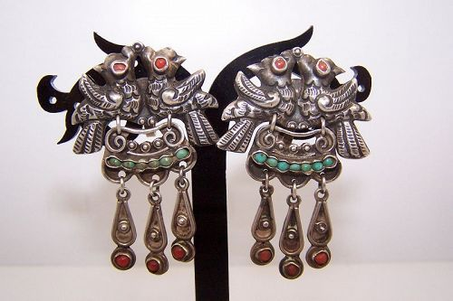 Matl Matilde Poulat Jeweled Mexican Silver Double Bird Earrings