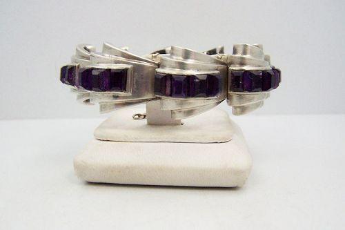 Antonio Pineda Vintage Mexican Silver Amethyst Baguettes Bracelet