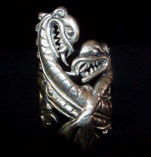 Doris Silver Giant Dragon Mexican Silver Repousse Cuff