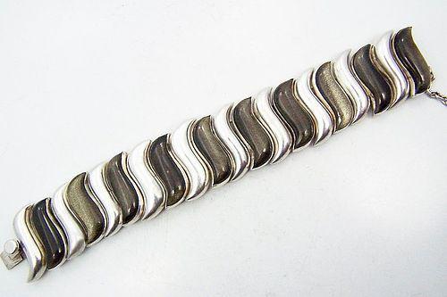 Antonio Pineda Vintage Mexican Silver S Link Obsidian Bracelet