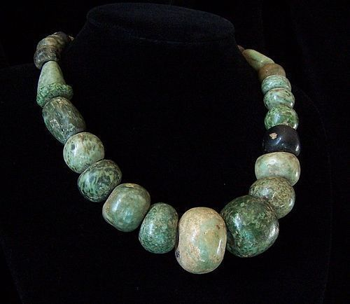Pre Contact Pre Columbian Era Beads Necklace Mexico With Sterling