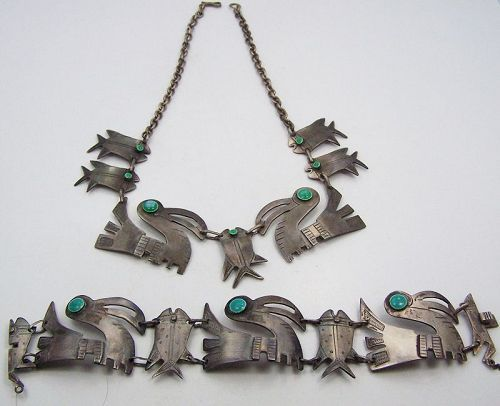Graziella Laffi Birds Necklace & Bracelet Peruvian Sterling