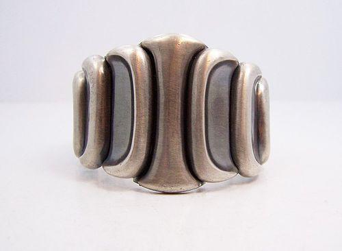 Antonio Pineda Repousse Mexican Silver Bracelet Heavy