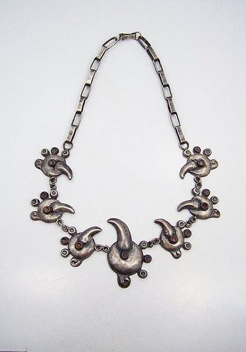 Very Old Mexican Silver Bird Glyph Necklace Attributed to Castellanos