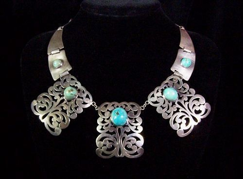 Casa Prieto Vintage Mexican Silver Cut Work & Turquoise