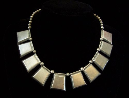 William Spratling Pylon Vintage Mexican Silver Necklace