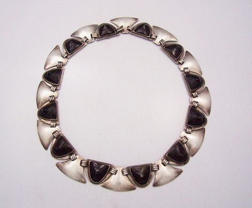 Fred Davis Sheen Obsidian Faces Vintage Mexican Silver Necklace