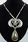 Los Castillo Vintage Mexican Silver Obsidian Long Necklace #