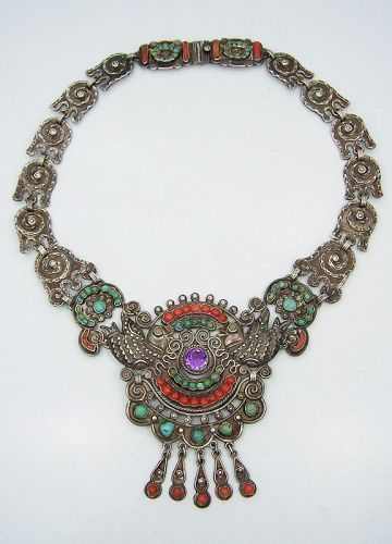 Matilde Poulat Matl Jeweled Vintage Mexican Silver Palomas Necklace