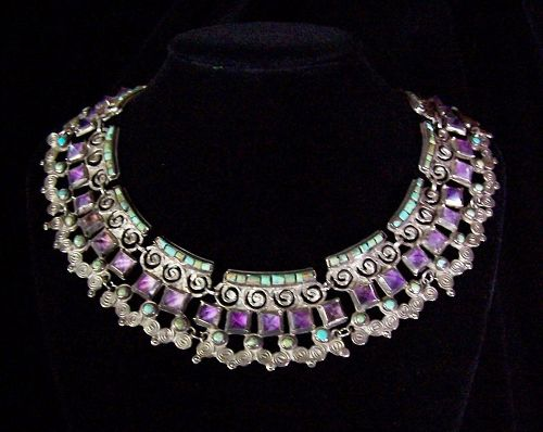 Matilde Poulat Matl Jeweled Vintage Mexican Silver Necklace