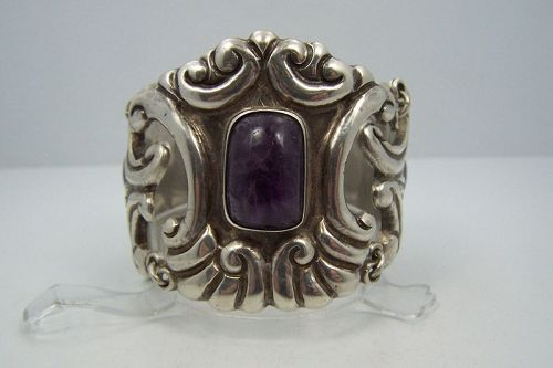 Myers Huge Vintage Mexican Silver Bracelet With Amethyst