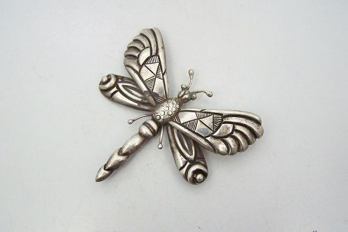 Victoria Vintage Mexican Silver Dragon Fly Brooch Pin Book Piece