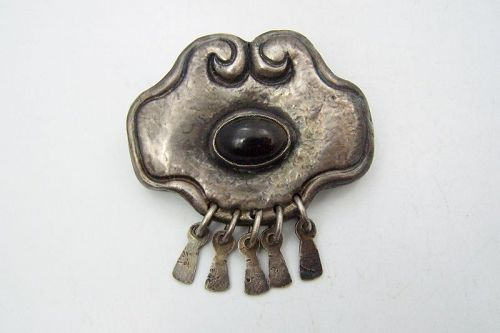 Matilde Poulat Obsidian Matl Vintage Mexican Silver Moth Brooch Pin