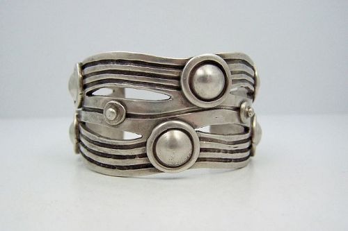 William Spratling River of Life  Vintage Mexican Silver Sleek Cuff