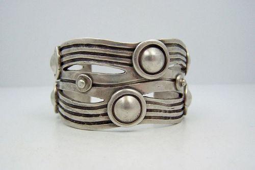 William Spratling River of Life  Vintage Mexican Silver Sleek Cuff