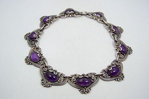 Margot de Taxco Amethyst Hearts Vintage Mexican Silver Necklace 5213