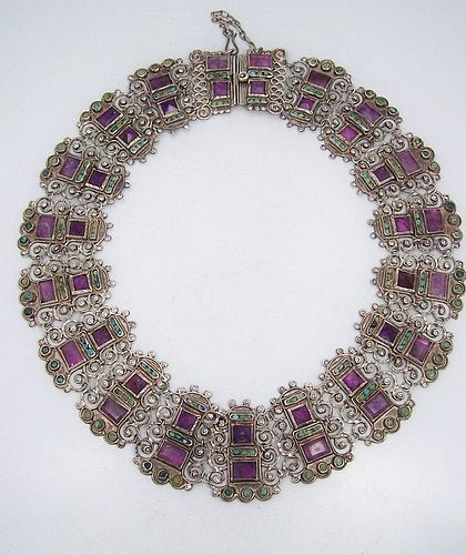 Old Matl Matilde Poulat Jeweled Vintage Mexican Silver Necklace