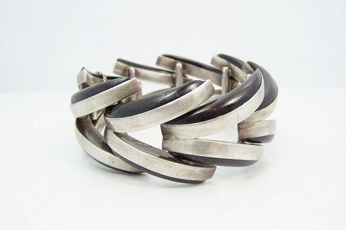Antonio Pineda Vintage Mexican Silver Black Onyx Crescent  Bracelet