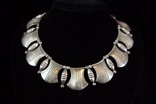 Hector Aguilar Rare Tarascan  Vintage Mexican Silver Necklace