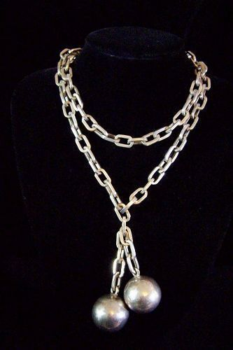 Miguel Melendez Vintage Mexican Silver Ball  Necklace