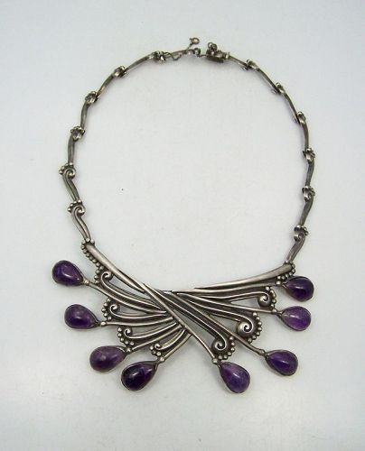 Margot de Taxco Margot Van Voorhies Mexican Silver Spray Necklace