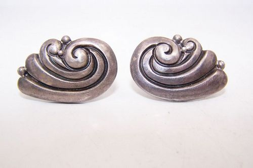 Margot de Taxco Margot Van Voorhies  Mexican Silver Earrings 5231