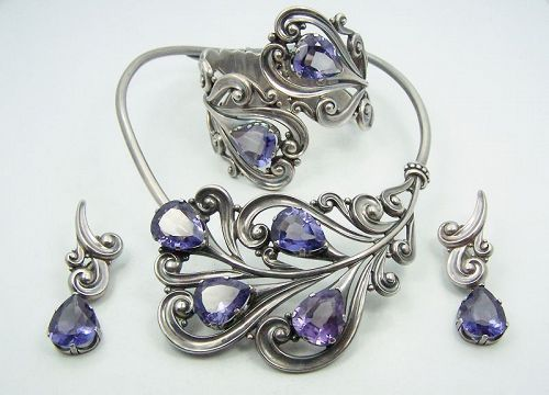 Margot de Taxco Mexican Silver Set # 5401 Necklace Ers Bracelet