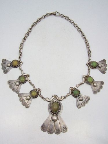 Old Jade Vintage Mexican Silver Necklace