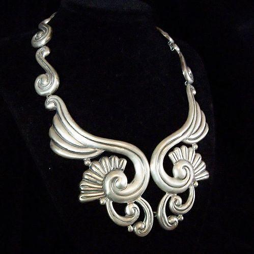 La Estrella Lotus Vintage Mexican Silver Necklace 980 Silver