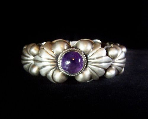 Amethyst Bead Ball Vintage Mexican Silver Bracelet Fantastic