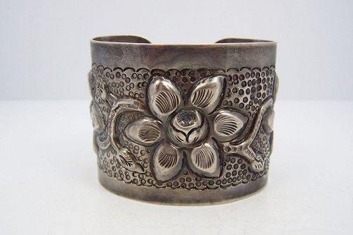 Sanborn Vintage Mexican Silver Repousse Bracelet