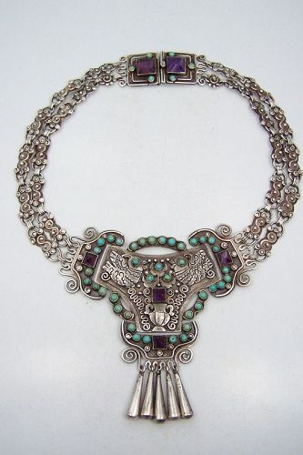 Matilde Poulat Matl Vintage Mexican Silver Double Chain Necklace