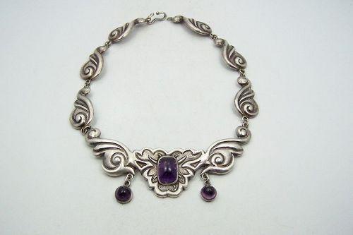 Da'maso Gallegos Vintage Mexican Silver Amethyst Necklace