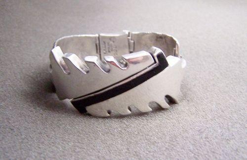 Salvador Teran Vintage Mexican Silver Onyx Bracelet Rare