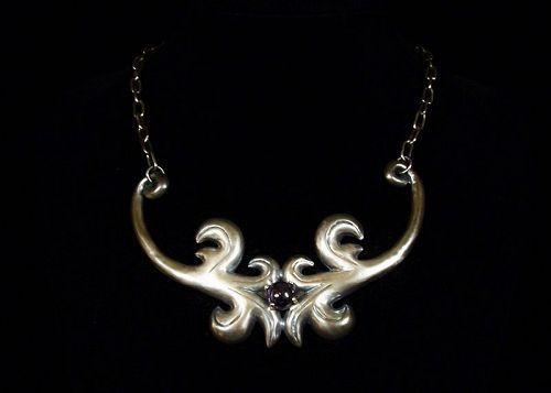Vintage Mexican Silver Amethyst Repousse Necklace Gorgeous