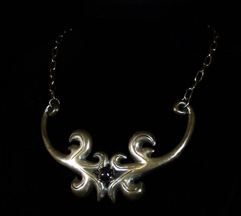 Vintage Mexican Silver Amethyst Repousse Necklace Gorgeous