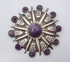 William Spratling Amethyst Vintage Mexican Silver Pendant Brooch