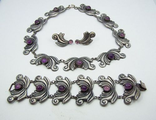 Amethyst Swirl Vintage Mexican Silver Set Necklace Bracelet Earrings