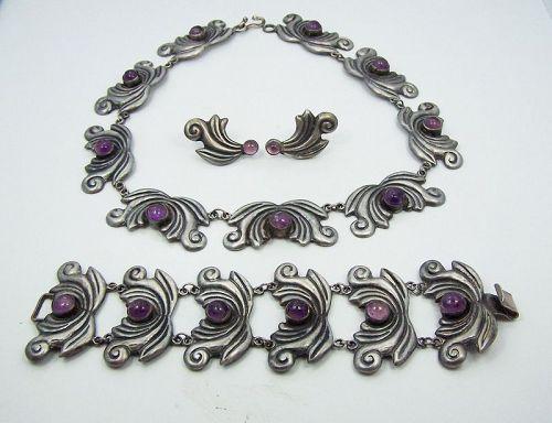 Amethyst Swirl Vintage Mexican Silver Set Necklace Bracelet Earrings