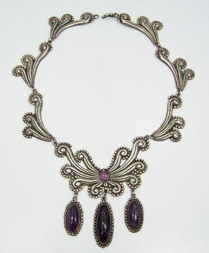 Vintage Mexican Silver Amethyst Repousse Necklace With Beading