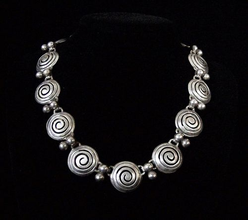 Bernice Goodspeed Vintage Mexican Silver Necklace & Earring Set