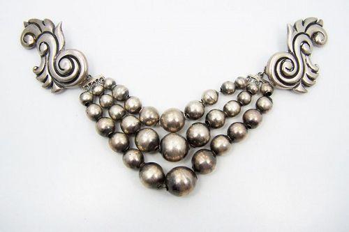 Los Castillo # 419 Mexican Silver 3 Strand Bead Brooch Rare