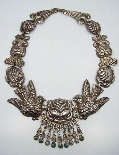 Matl Salas Mexican Silver Palomas y Rosas Necklace