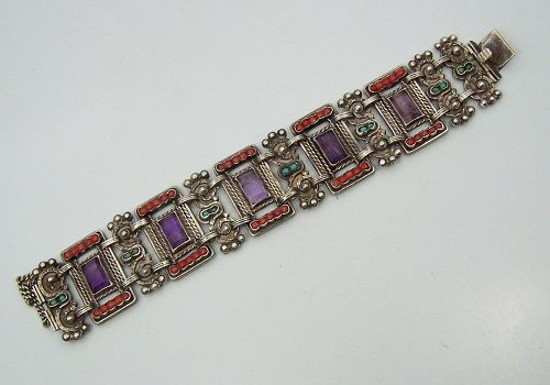 Old Matilde Poulat Matl Vintage Mexican Silver Bracelet