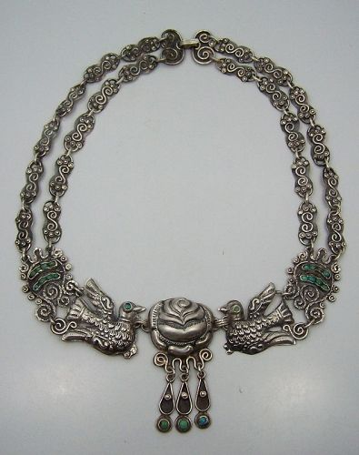 Matl Salas Mexican Silver Palomas & Rosas Necklace Double Chain