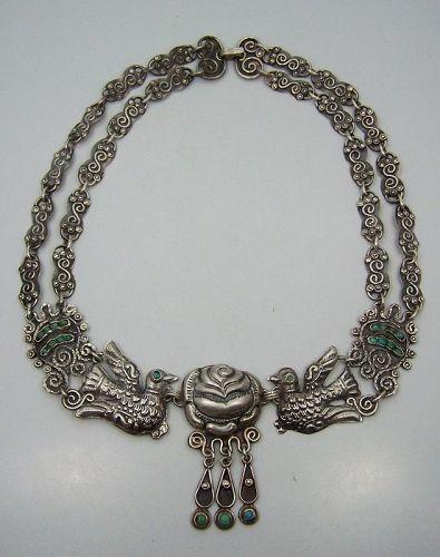 Matl Salas Mexican Silver Palomas & Rosas Necklace Double Chain