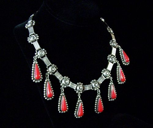Vintage Mexican Silver Necklace Cuernavaca Artist Signed
