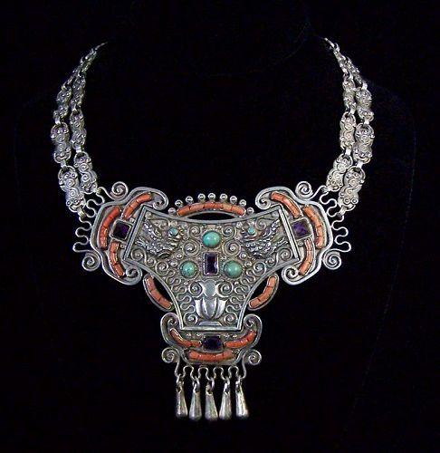 Matilde Poulat Matl Vintage Mexican Silver Rare Necklace