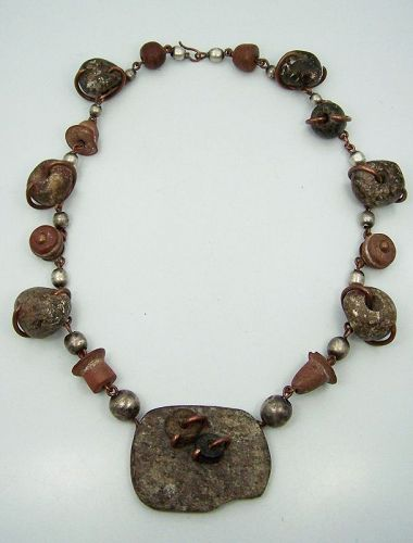 Doris Vintage Mexican Silver Ancient Beads Necklace