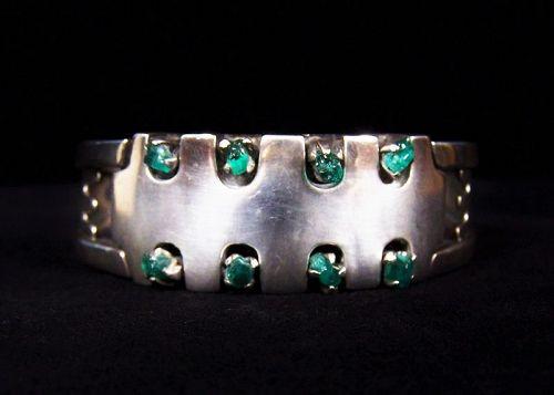 Salvador Teran Emerald Vintage Mexican Silver Bracelet Rare